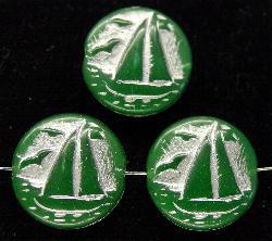Best.Nr.:59034 Vintagestyle Glasperlen grün opak mit Silberauflage, nach alten Vorlagen aus den 1940/50 Jahren neu gefertigt in Gablonz / Tschechien