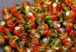 Best.Nr.:27029 Glasperlen facettiert  Zweifarbenglas orange grün transp.,  hergestellt in Gablonz / Tschechien