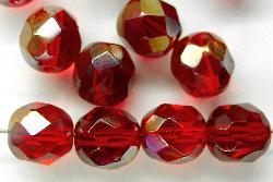 Best.Nr.:28314 facettierte Glasperlen rot transp.  mit kupferfarbener-Veredelung