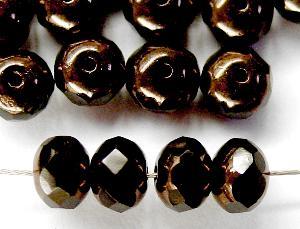 Best.Nr.:26148 Glasperlen Linse schwarz mit Bronzeauflage mit facettiertem Rand, hergestellt in Gablonz / Böhmen