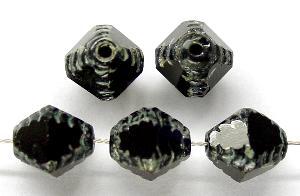 Best.Nr.:26246 geschliffene Glasperlen Multi Cut Beads schwarz mit picasso finish