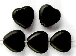 Best.Nr.:67479 Glasperlen / Table Cut Beads schwarze Herzen geschliffen Rand mattiert