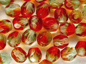 Best.Nr.:27211 facettierte Glasperlen Zweifarbenglas rot hellgrün transp.,  hergestellt in Gablonz / Tschechien