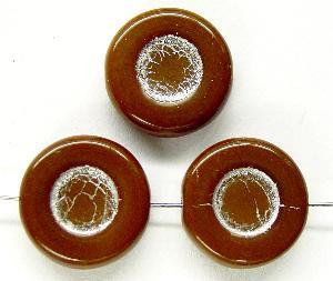Best.Nr.:47051 Glasperlen Scheibe  braun mit Silberauflage, hergestellt in Gablonz / Tschechien