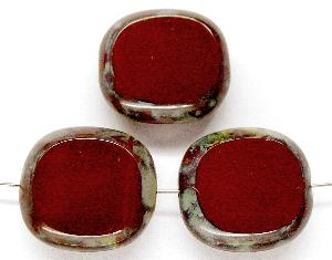 Best.Nr.:67136 Glasperlen / Table Cut Beads Olive geschliffen braun opak mit picasso finish, hergestellt in Gablonz / Tschechien