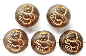 Best.Nr.:59139 vintage style Glasperlen, nach alten Vorlagen aus den 1970 Jahren in Gablonz / Tschechien neu gefertigt, eingeprägtes Bärchen mit Goldauflage