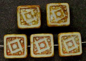 Best.Nr.:67554 Glasperlen / Table Cut Beads geschliffen mit Travertin-Veredelung, nach alten Vorlagen aus den 1920 Jahren neu gefertigt