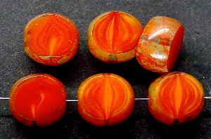 Best.Nr.:67480 Glasperlen / Table Cut Beads geschliffen mit Travertin-Veredelung