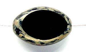 Best.Nr.:67675 Glasperlen / Table Cut Beads geschliffen mit Travertin-Veredelung