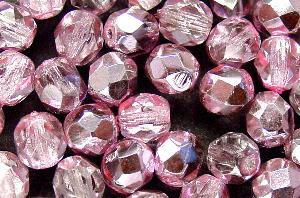 Best.Nr.:24090 facettierte Glasperlen mit Silber-Veredelung und Wachsüberzug