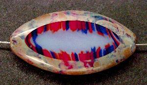 Best.Nr.:67056 Glasperlen / Table Cut Beads geschliffen mit Travertin-Veredelung