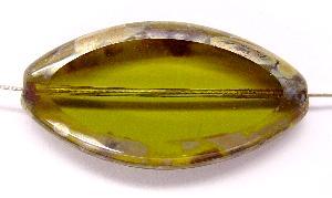 Best.Nr.:67141 Glasperlen oliv / Table Cut Beads geschliffen mit Travertin-Veredelung