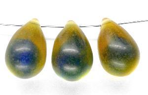 Best.Nr.:55026 Glasperlen mattiert Tropfen gelb/blau um 1960 In Gablonz/Böhmen hergestellt