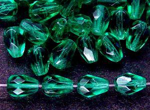 Best.Nr.:27248 facettierte Glasperlen Tropfen helles smaragdgrün