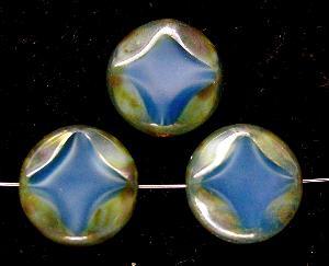 Best.Nr.:67579 Glasperlen / Table Cut Beads Perlettglas blau geschliffen mit Travertin-Veredelung