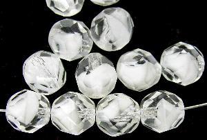 Best.Nr.:26104 facettierte Glasperlen weiß mit kristall Überfang