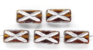 Best.Nr.:49142 Glasperlen Rechtecke topas mit Silberauflage