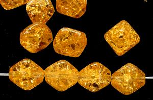 Best.Nr.:54056 Glasperlen Doppelpyramide vierkantig Crash beads honig