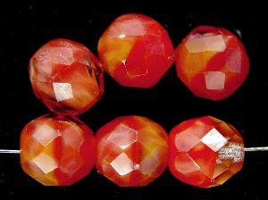 Best.Nr.:26334 facettierte Glasperlen Perlettglas orange rot marmoriert, hergestellt in Gablonz / Tschechien