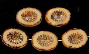 Best.Nr.:67436 Glasperlen / Table Cut Beads geschliffen mit Travertin-Veredelung, nach alten Vorlagen aus den 1920 Jahren neu gefertig