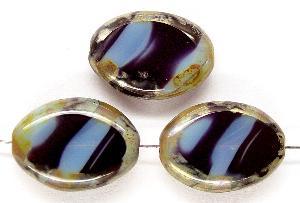 Best.Nr.:67532 Glasperlen / Table Cut Beads geschliffen, schwarz blaugrau mit Travertin-Veredelung