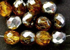 Best.Nr.:28238 facettierte Glasperlen topas mit Silber Veredelung