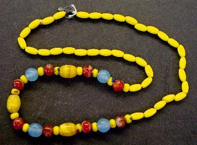 Best.Nr.:60042 Perlenkette in Gablonz hergestellt. Zum Kriegsende 1945 versteckt, wurden diese Ketten jetzt nach über 60 Jahren wiederentdeckt. Im Orginalzustand belassen. Ein Leckerbissen für Sammler oder als Fundgrube für die Schmuckgestaltung.