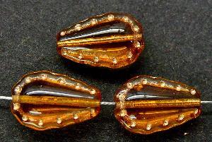 Best.Nr.:59175 Vintage style Glasperlen, nach alten Vorlagen aus den 1930/40Jahren neu gefertigt topas mit Goldauflage