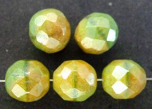 Best.Nr.:26336 facettierte Glasperlen grüngelb mit lüster