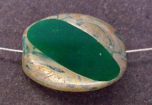 Best.Nr.:67616 große Glasperle / Table Cut Bead geschliffen mit picasso finish