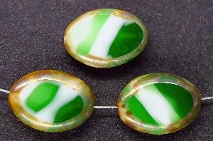 Best.Nr.:67622 Glasperlen / weiß grün Table Cut Beads geschliffen, mit Travertin-Veredelung