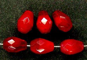 Best.Nr.:26342 facettierte Glasperlen tropfenform rot meliert