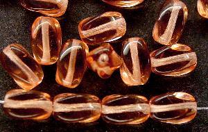 Best.Nr.:46239 Glasperlen getwistet apricot transap., hergestellt in Gablonz / Tschechien