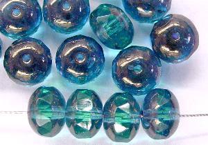 Best.Nr.:28318 Glasperlen Linse montanablue mit facettiertem Rand Bronziert