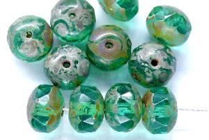 Best.Nr.:27476 Glasperlen Linse türkis grün mit facettiertem Rand und picasso finish