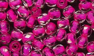 Best.Nr.:29015 facettierte Glasperlen kristall mit Farbeinzug pink
