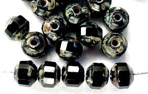 Best.Nr.:26308 facettierte Glasperlen / Barockperlen schwarz mit picasso finish