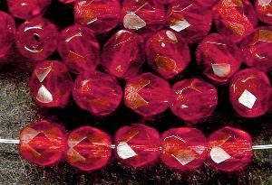Best.Nr.:27361 Glasperlen facettiert  fuchsia transp.,  hergestellt in Gablonz / Tschechien