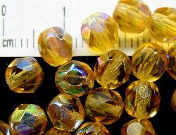 Best.Nr.:28215 facettierte Glasperlen honiggelb transp./eine Seite mit AB