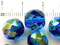 Best.Nr.:28227 facettierte Glasperlen blau mit AB, hergestellt in Gablonz / Tschechien