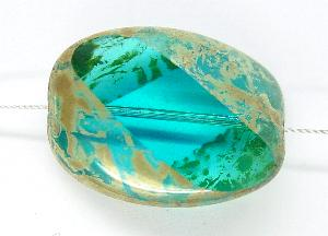 Best.Nr.:67651 große Glasperle / Table Cut Bead geschliffen mit picasso finish