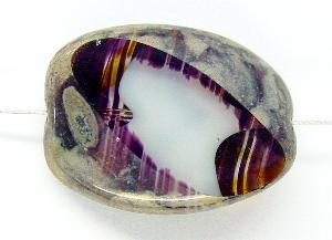 Best.Nr.:67653 große Glasperle / Table Cut Bead geschliffen mit Travertin-Veredelung