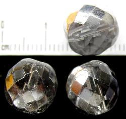 Best.:Nr.:28230 facettierte Glasperlen kristall/eine Seite mit silber Veredelung