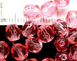 Best.Nr.:24052 facettierte Glasperlen mit Wachsüberzug rosa, hergestellt in Gablonz / Tschechien
