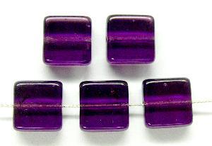 Best.Nr.:49258 Glasperlen Quadrate  violett transp., hergestellt in Gablonz / Tschechien