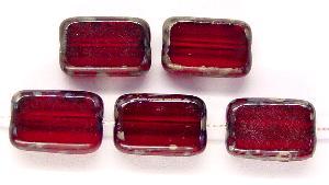 Best.Nr.:67572 Glasperlen / Table Cut Beads granatrote Rechtecke geschliffen, mit Travertin-Veredelung