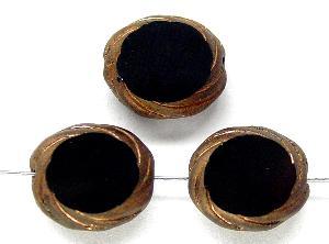 Best.Nr.:67643 Glasperlen / Table Cut Beads geschliffen mit Travertin-Veredelung