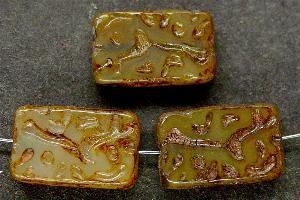 Best.Nr.:67547 Glasperlen / Table Cut Beads geschliffen mit Travertin-Veredelung