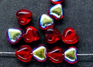 Best.Nr.:56080 Glasperlen Herzen  granatrot mit AB,  hergestellt in Gablonz / Tschechien