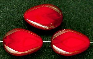 Best.Nr.:67147 Glasperlen / Table Cut Beads geschliffen / rot mit Bronzelüster
